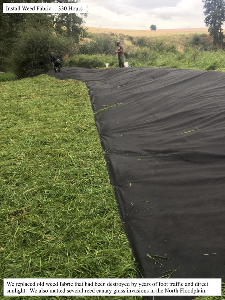 We replaced old weed fabric that had been destroyed by years of foot traffic and direct sunlight.