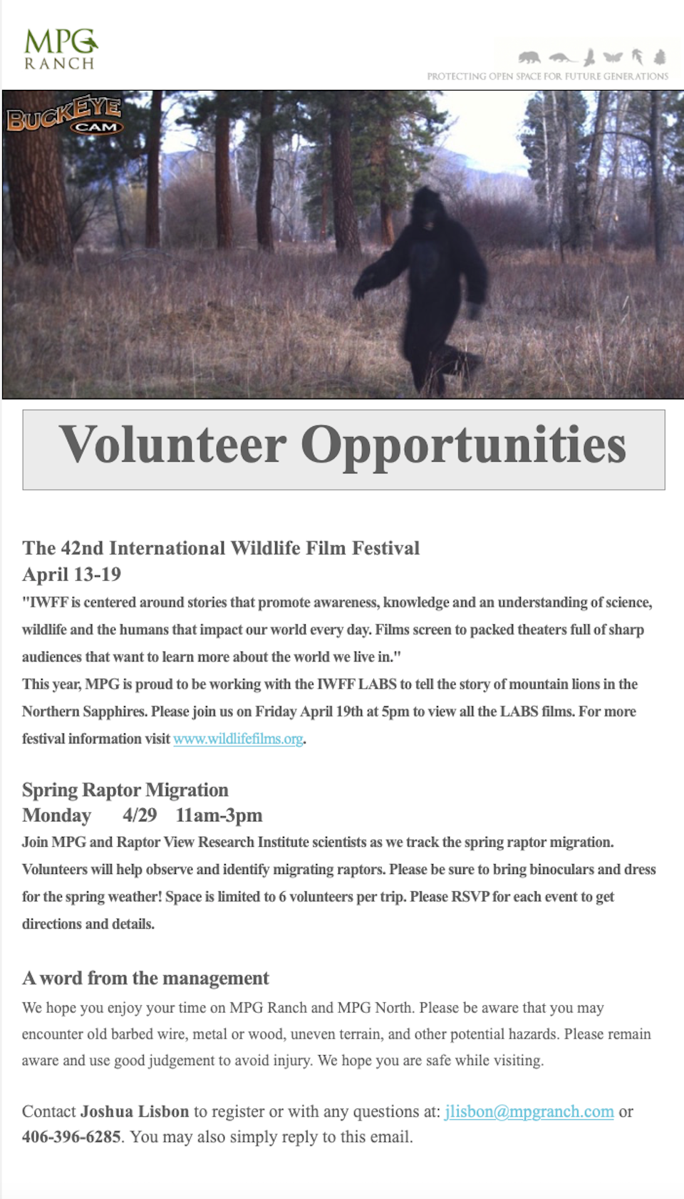 April Volunteer Oportunities