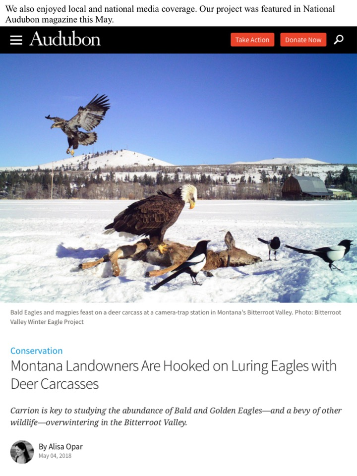 We also enjoyed local and national media coverage. Our project was featured in National Audubon magazine this May.