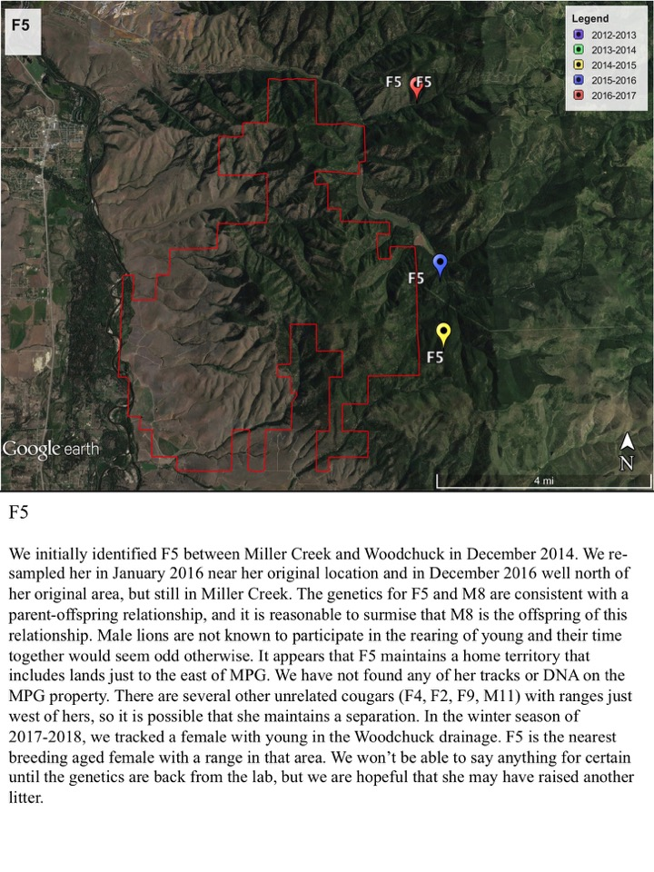 We initially identified F5 between Miller Creek and Woodchuck in December 2014.