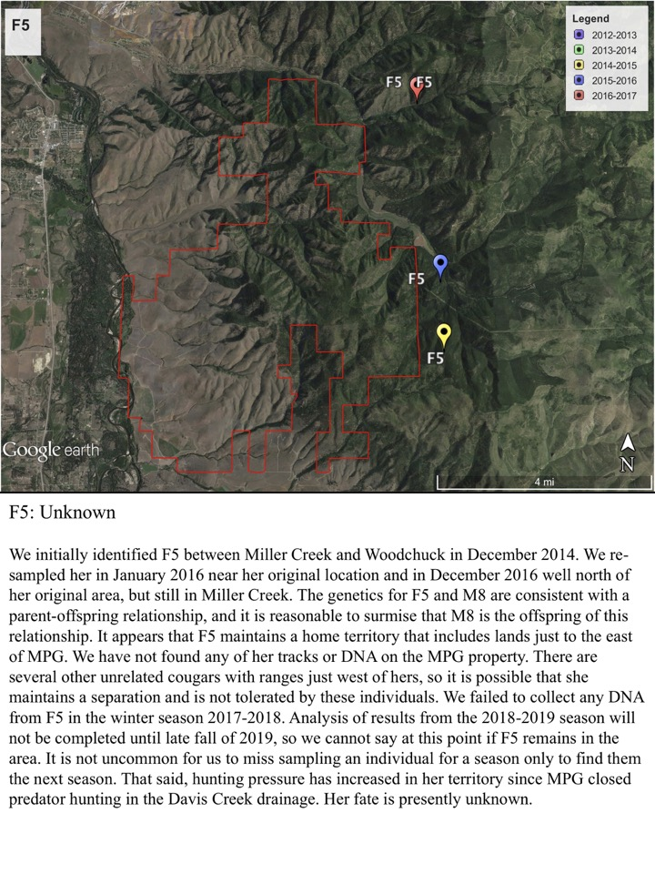 We initially identified F5 between Miller Creek and Woodchuck in December 2014. We re- sampled her in January 2016 near her original location and in December 2016 well north of her original area, but still in Miller Creek.