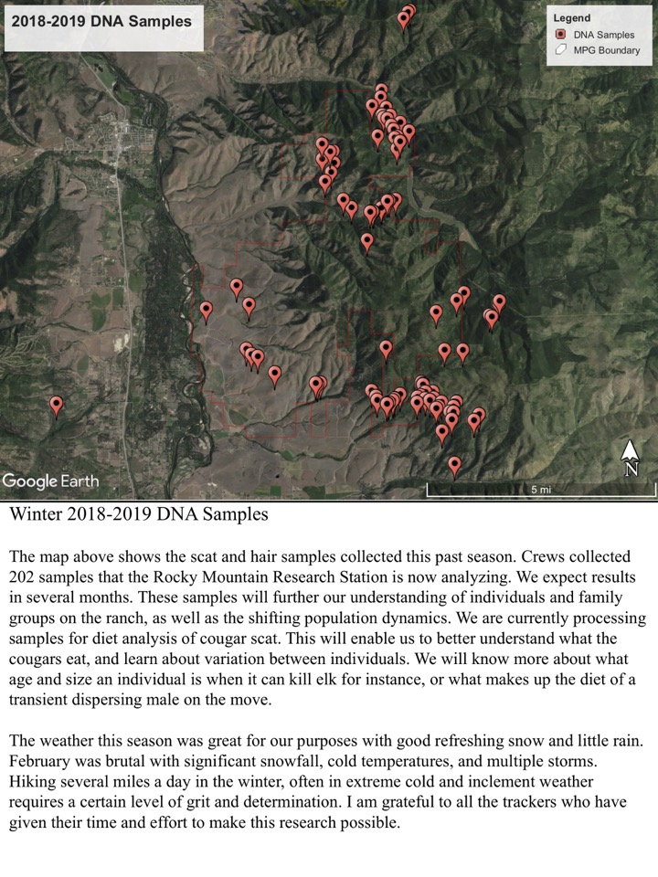 The map above shows the scat and hair samples collected this past season. Crews collected 202 samples that the Rocky Mountain Research Station is now analyzing.