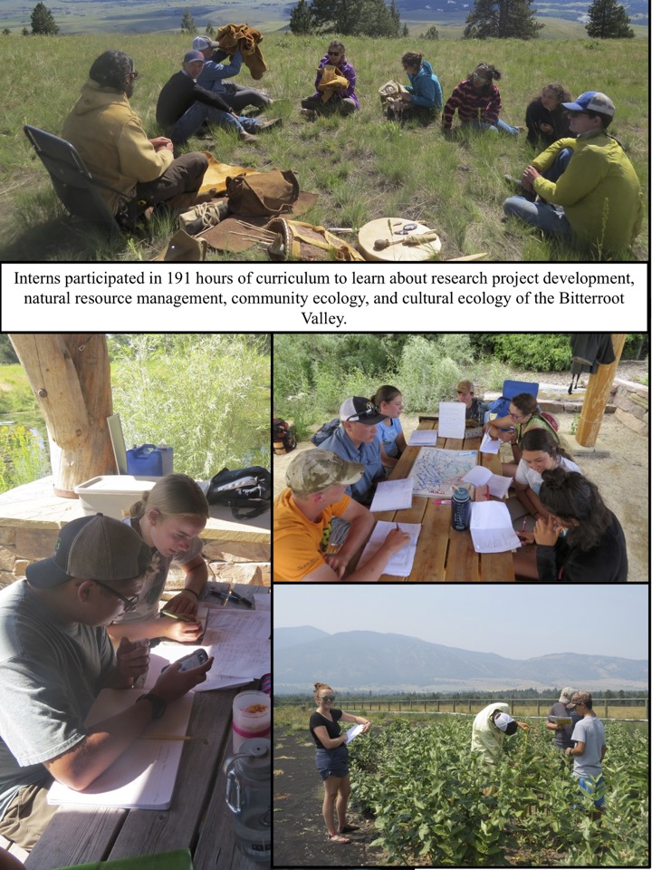 Interns participated in 191 hours of curriculum to learn about research project development, natural resource management, community ecology, and cultural ecology of the Bitterroot Valley.