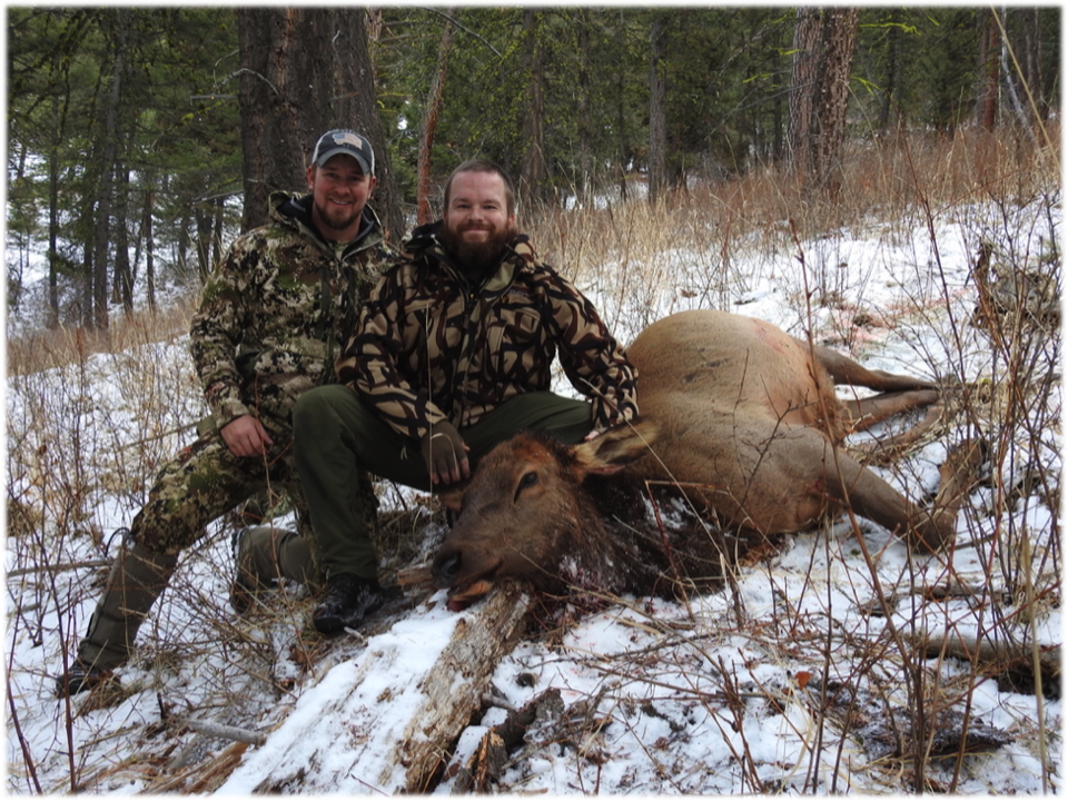 Wounded Warrior Volunteer, Jake Jourdonnais (left), with Wounded Warrior Hunter, Kevin Martin, after a successful stalk on MPG Ranch, January 9, 2020