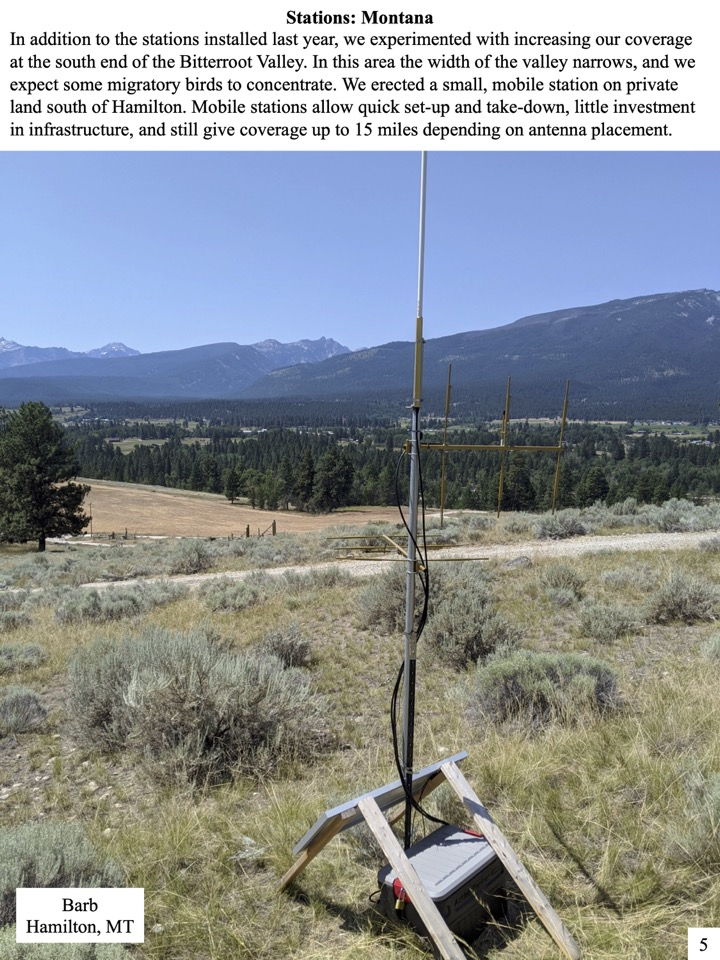 In addition to the stations installed last year, we experimented with increasing our coverage at the south end of the Bitterroot Valley. In this area the width of the valley narrows, and we expect some migratory birds to concentrate.