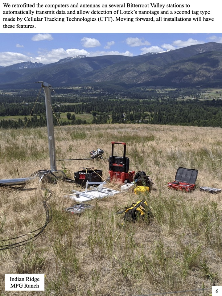 We retrofitted the computers and antennas on several Bitterroot Valley stations to automatically transmit data and allow detection of Lotek's nanotags and a second tag type made by Cellular Tracking Technologies