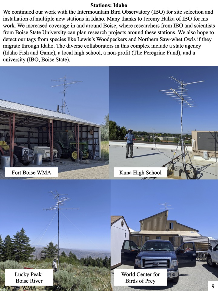 We continued our work with the Intermountain Bird Observatory (IBO) for site selection and installation of multiple new stations in Idaho.