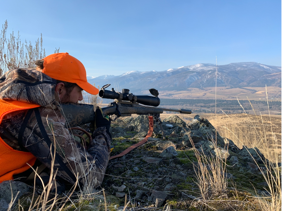 An elk hunter lines up his shot on MPG Ranch in early November 2020. (Jake Jourdonnais Photo)