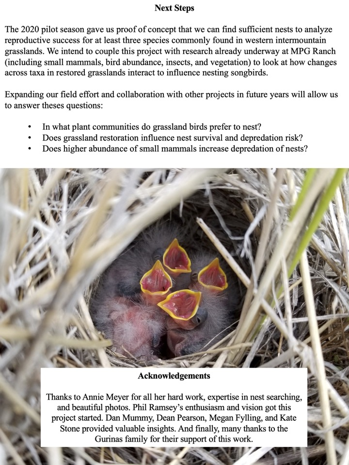 The 2020 pilot season gave us proof of concept that we can find sufficient nests to analyze reproductive success for at least three species commonly found in western intermountain grasslands.