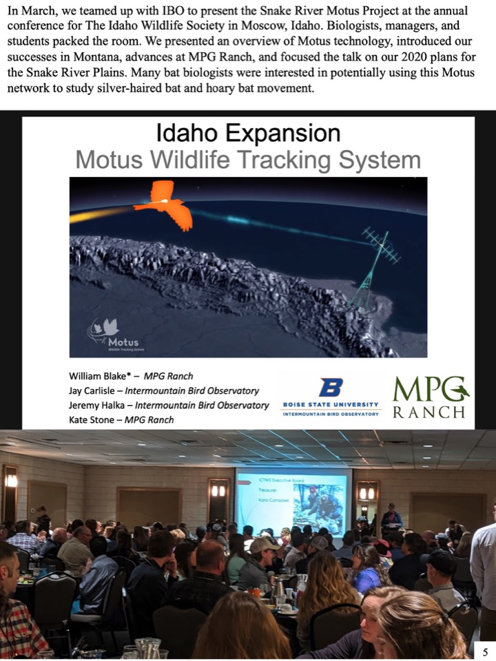 In March, we teamed up with IBO to present the Snake River Motus Project at the annual conference for The Idaho Wildlife Society in Moscow, Idaho