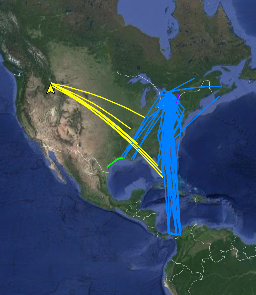 Three Motus projects showing Common Nighthawk estimated pathways from all detections