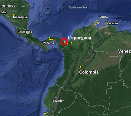 Map: Current working Motus stations in Colombia and neighboring countries.