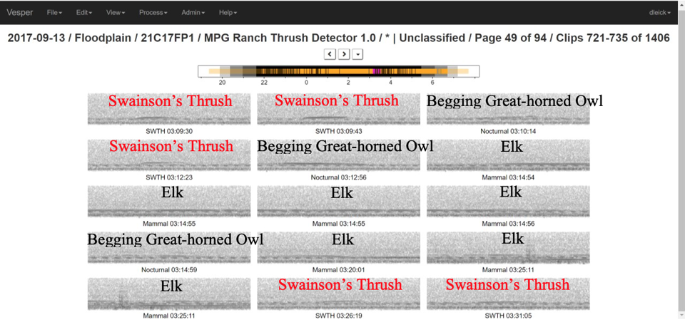 This screenshot from Vesper shows the sound clips identified as bird calls of interest.