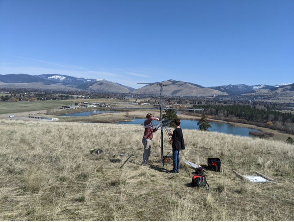 Students from Learning With Meaning helped install the Motus station at McCauley Butte, Missoula, MT
