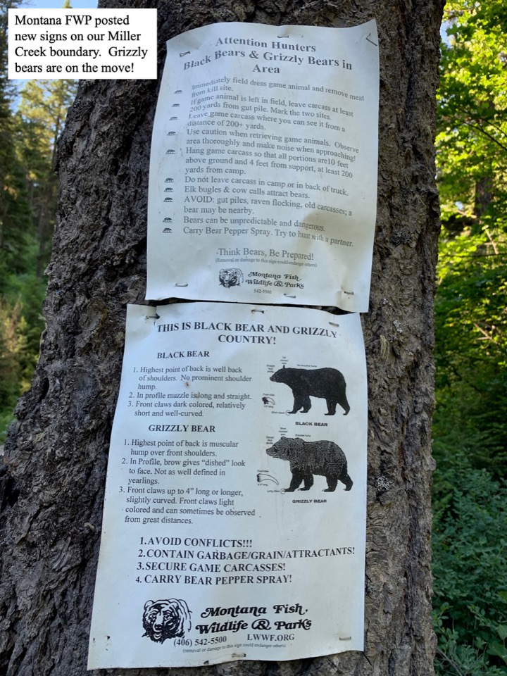 Montana FWP posted new signs on our Miller Creek boundary.