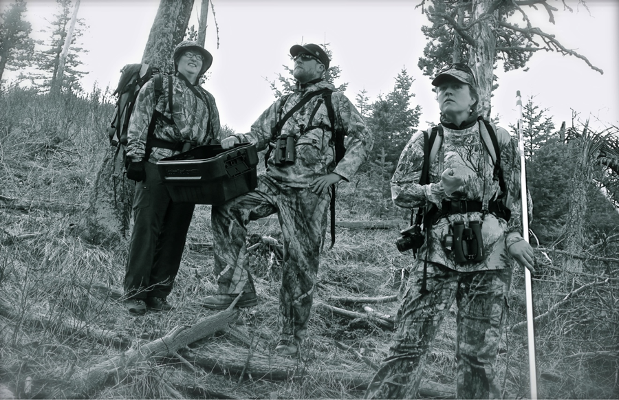"""03/31/15: To observe the suspected pygmy-owl nest with limited disturbance, we decide to install an acoustic monitor and motion-triggered camera in the nest area. Our """"swat team"""" (commonly known as the MPG bird crew), goes to the nesting area dressed in camo. We arrive at 11:45am, when pygmy-owls seem to be least active."""