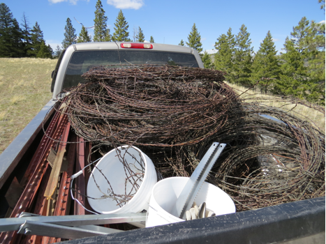 volunteers  removed a total of .39 miles of fence. The day's haul can be seen in the photo above.