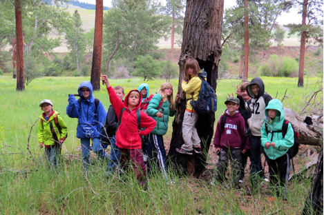 The group braved a cooler spring day, thoroughly exploring the floodplain.