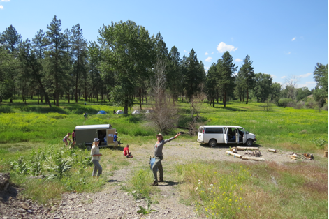 The group arrived Saturday afternoon and camped until Monday morning, when they headed to the the Flathead Reservation to meet with tribal officials and discuss management practices on the reservation. They set up camp in the Northern Floodplain at a site established for use by summer groups. WRFI is a field-based academic program run out of Missoula. Students are from colleges and universities around the country and get course credit for their time. Students balance their time between backpacking in remote areas, visiting management agencies, and extensive course work.