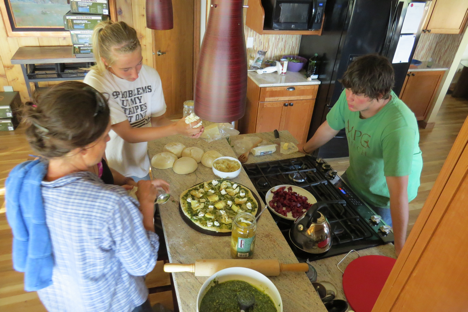 Ylva, an MPG soil ecologist, cooked dinner with the interns and field staff. Together they created some amazing pizza varieties. The students tried new foods, and they liked them. I believe this may be the first documented case of teenage new food enjoyment.