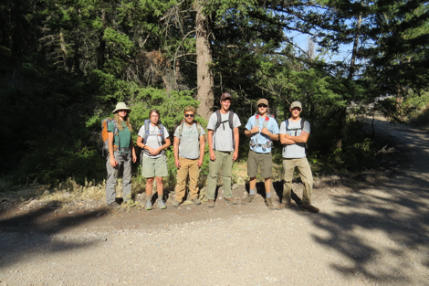 The ECO field staff and Katharine's interns  joined forces to look for bear rub trees and to collect hair samples. We found evidence of a number of different animals that call the ranch home including bear, elk, and horses.
