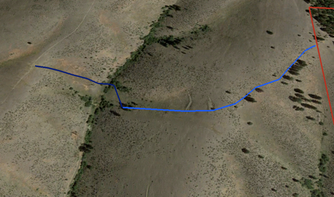 The dark blue line shows the fence removed on September 21st. The light blue line shows the fence removed on October 19th. The red line indicates the ranch boundary.