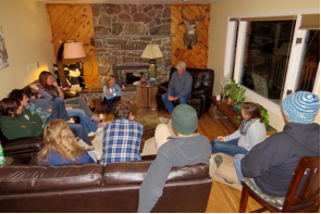 Following their day of volunteer service, the students met with Bob Schroeder, the former owner of the ranch.