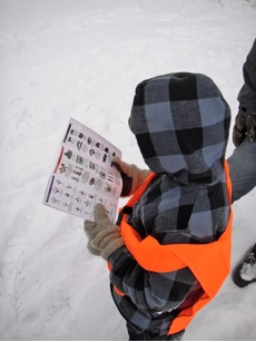 Scouts consult tracking guide.