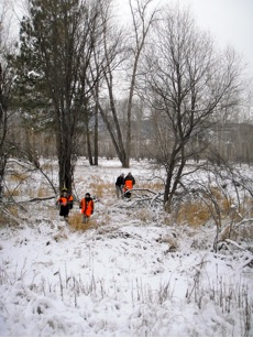 Cubscouts traverse the floodplain.