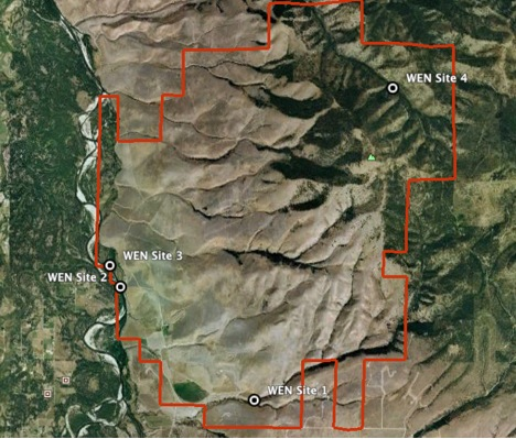 The waypoints show the research sites proposed by the Watershed Education Network (WEN). The red line indicates the MPG Ranch boundary.