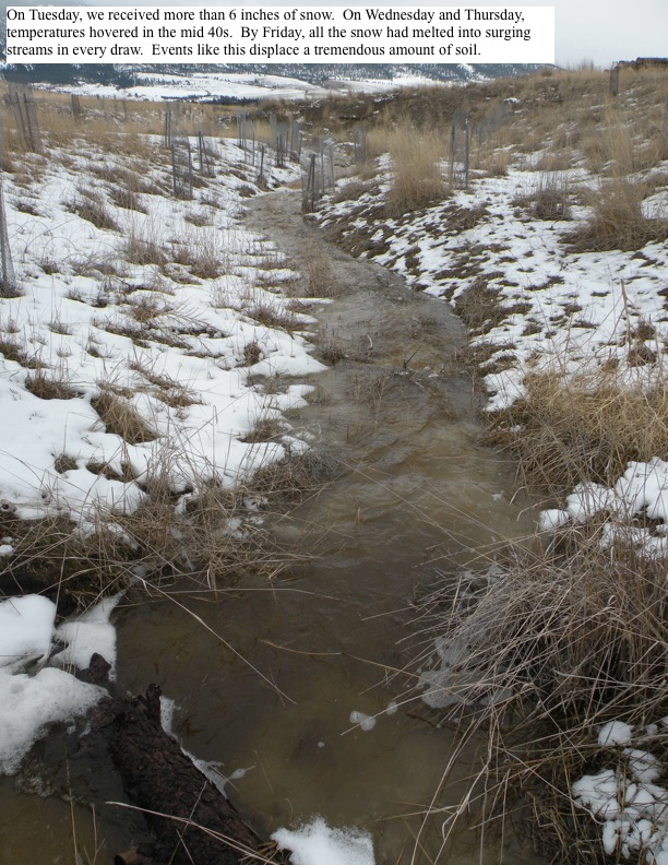 By Friday, all the snow had melted into surging streams in every draw.