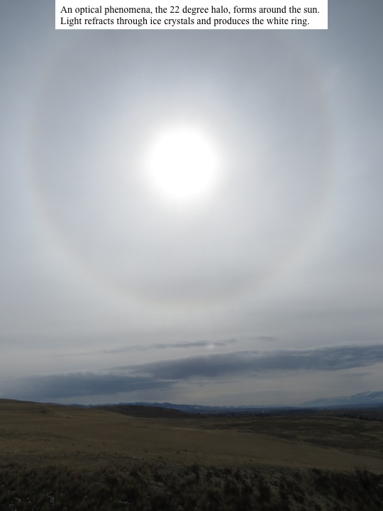 WB An optical phenomena, the 22 degree halo, forms around the sun. Light refracts through ice crystals and produces the white ring.