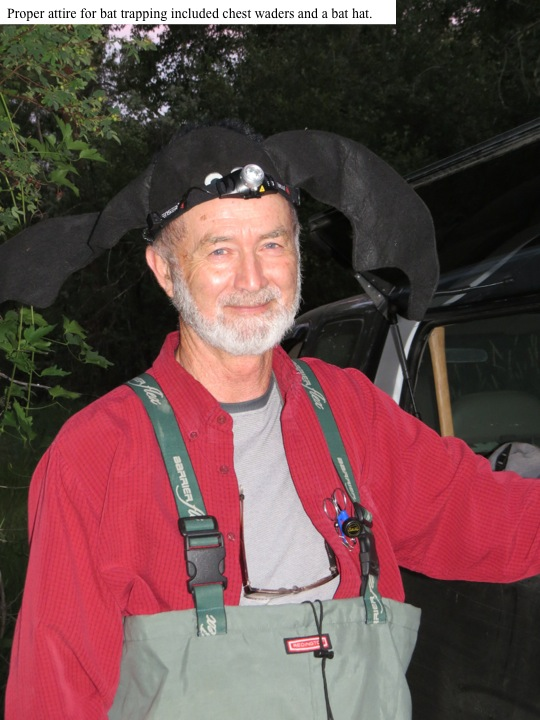 Proper attire for bat trapping included chest waders and a bat hat.