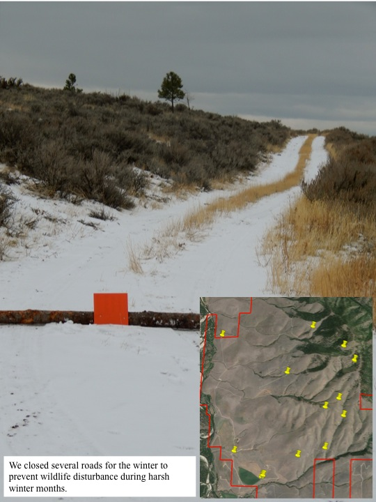 We closed several roads for the winter to prevent wildlife disturbance during harsh winter months.
