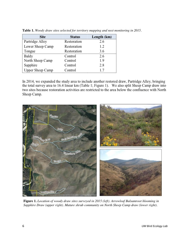 In 2014, we expanded the study area to include another restored draw, Partridge Alley, bringing the total survey area to 16.4 linear km (Table 1; Figure 1). We also split Sheep Camp draw into two sites because restoration activities are restricted to the area below the confluence with North Sheep Camp.