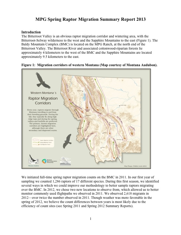 The Bitterroot Valley is an obvious raptor migration corridor and wintering area, with the Bitterroot-Selway wilderness to the west and the Sapphire Mountains to the east (Figure 1). The Baldy Mountain Complex (BMC) is located on the MPG Ranch, at the north end of the Bitterroot Valley. The Bitterroot River and associated cottonwood-riparian forests lie approximately 4 kilometers to the west of the BMC and the Sapphire Mountains are located approximately 9.5 kilometers to the east.