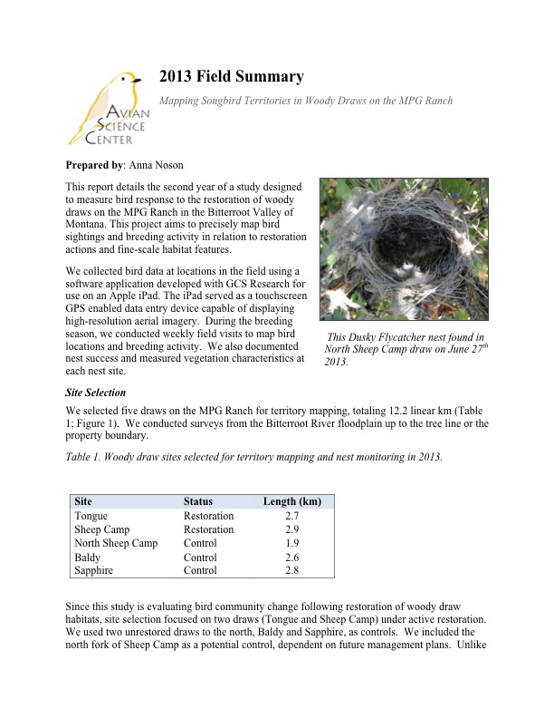This report details the second year of a study designed to measure bird response to the restoration of woody draws on the MPG Ranch in the Bitterroot Valley of Montana.