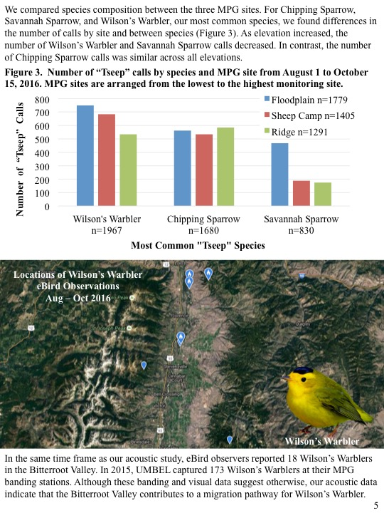 We compared species composition between the three MPG sites. For Chipping Sparrow, Savannah Sparrow, and Wilson's Warbler, our most common species, we found differences in the number of calls by site and between species (Figure 3). As elevation increased, the number of Wilson's Warbler and Savannah Sparrow calls decreased. In contrast, the number of Chipping Sparrow calls was similar across all elevations.