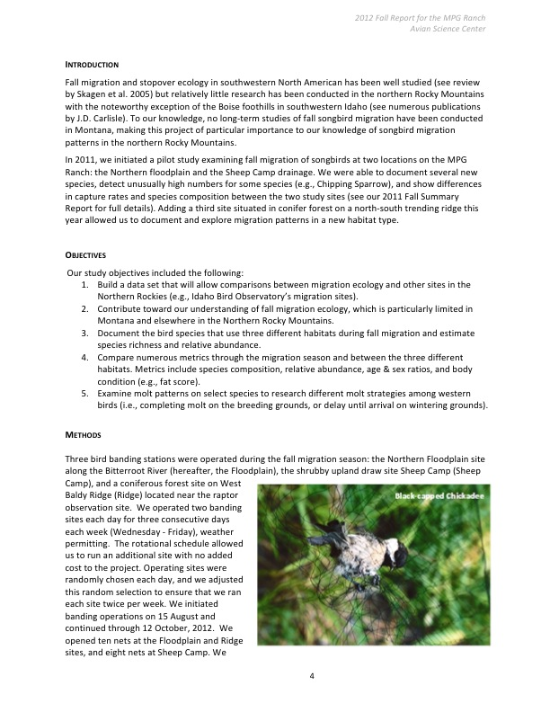 Avian Science Center 2012 Fall Report for the MPG Ranch: Introduction, Objectives, and Methods 1