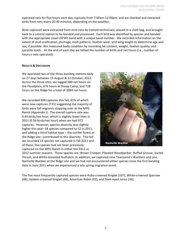 Avian Science Center 2012 Fall Report for the MPG Ranch: Methods 2, and Results and Discussion