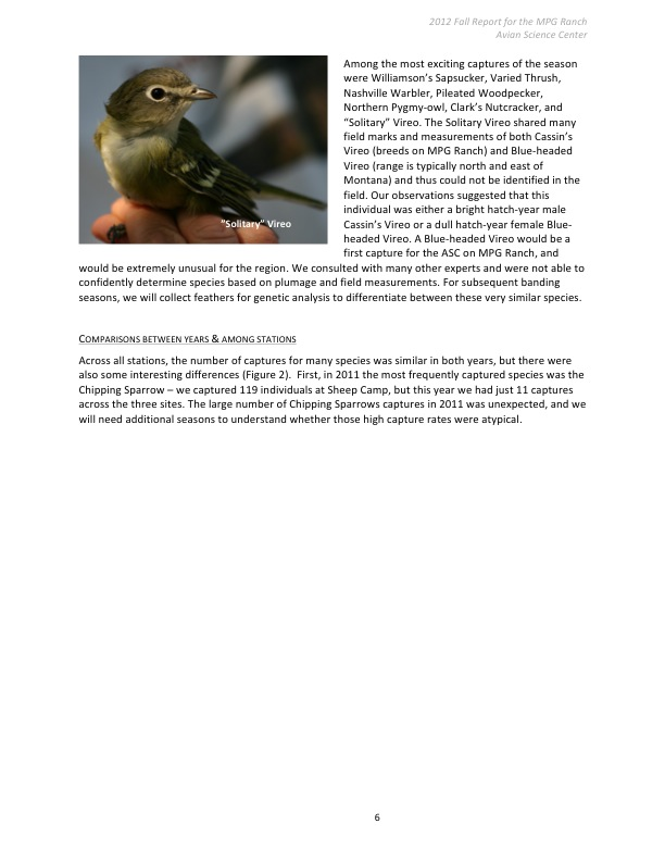 Avian Science Center 2012 Fall Report for the MPG Ranch: Results and Discussions 2