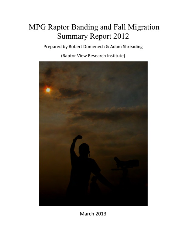 MPG Raptor Banding and Fall Migration Summary Report 2012